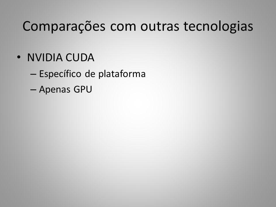 Comparações com outras tecnologias NVIDIA CUDA – Específico de plataforma – Apenas GPU