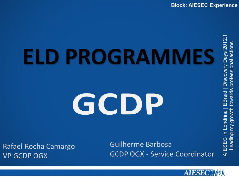 ELD PROGRAMMES Rafael Rocha Camargo VP GCDP OGX Guilherme Barbosa GCDP OGX - Service Coordinator