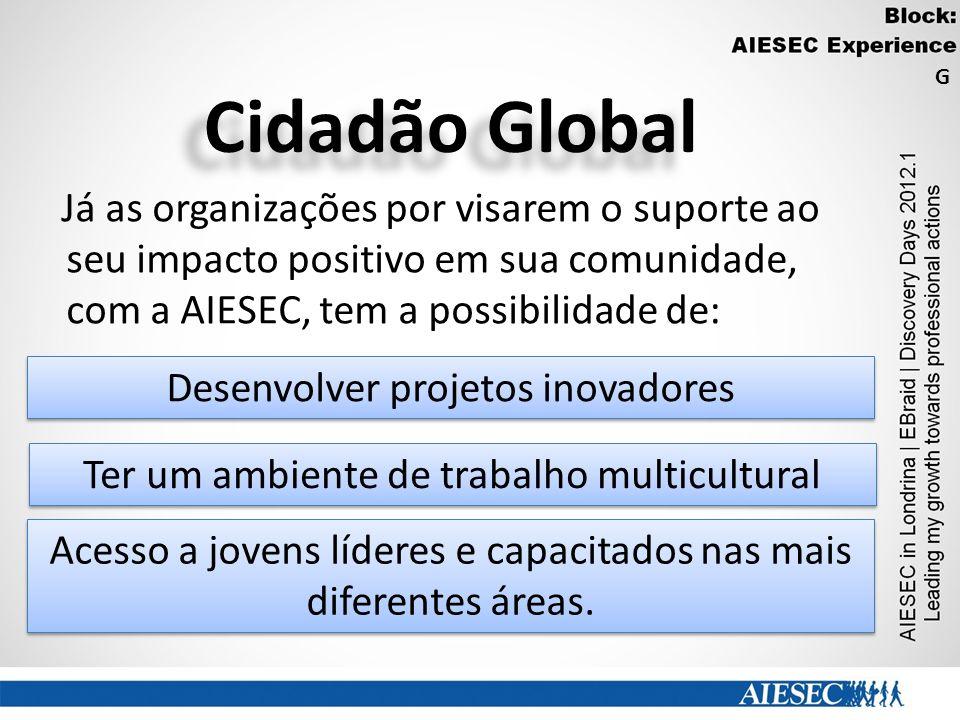 Cidadão Global Já as organizações por visarem o suporte ao seu impacto positivo em sua comunidade, com a AIESEC, tem a possibilidade de: Acesso a jove