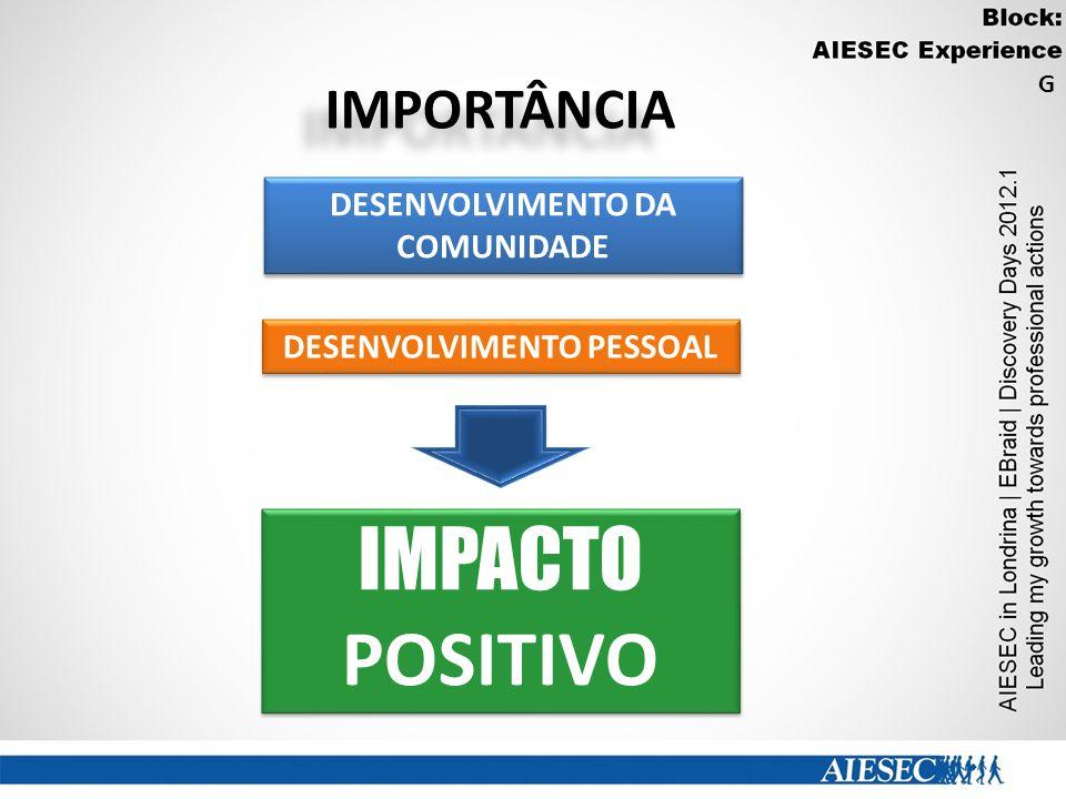 IMPORTÂNCIA DESENVOLVIMENTO DA COMUNIDADE DESENVOLVIMENTO PESSOAL IMPACTO POSITIVO G