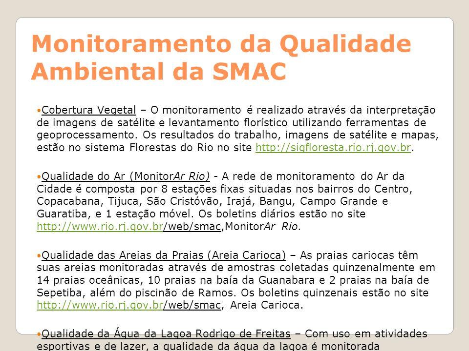 Monitoramento da Qualidade Ambiental da SMAC Cobertura Vegetal – O monitoramento é realizado através da interpretação de imagens de satélite e levanta