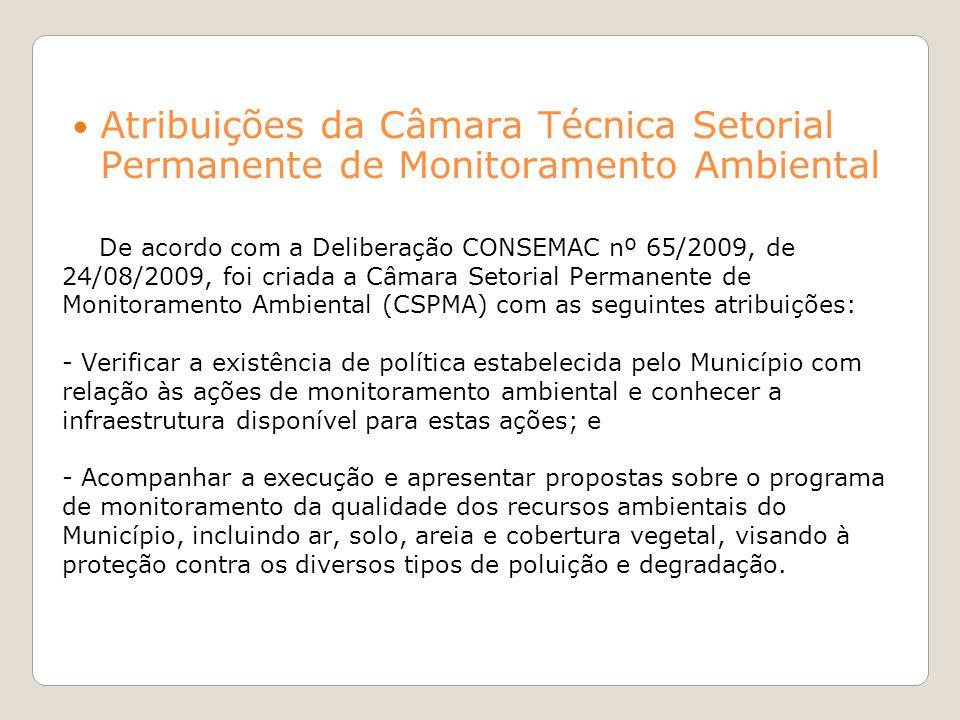 De acordo com a Deliberação CONSEMAC nº 65/2009, de 24/08/2009, foi criada a Câmara Setorial Permanente de Monitoramento Ambiental (CSPMA) com as segu
