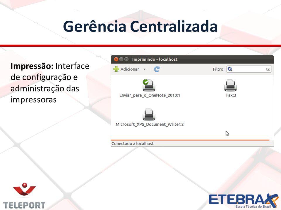 Gerência Centralizada Impressão: Interface de configuração e administração das impressoras
