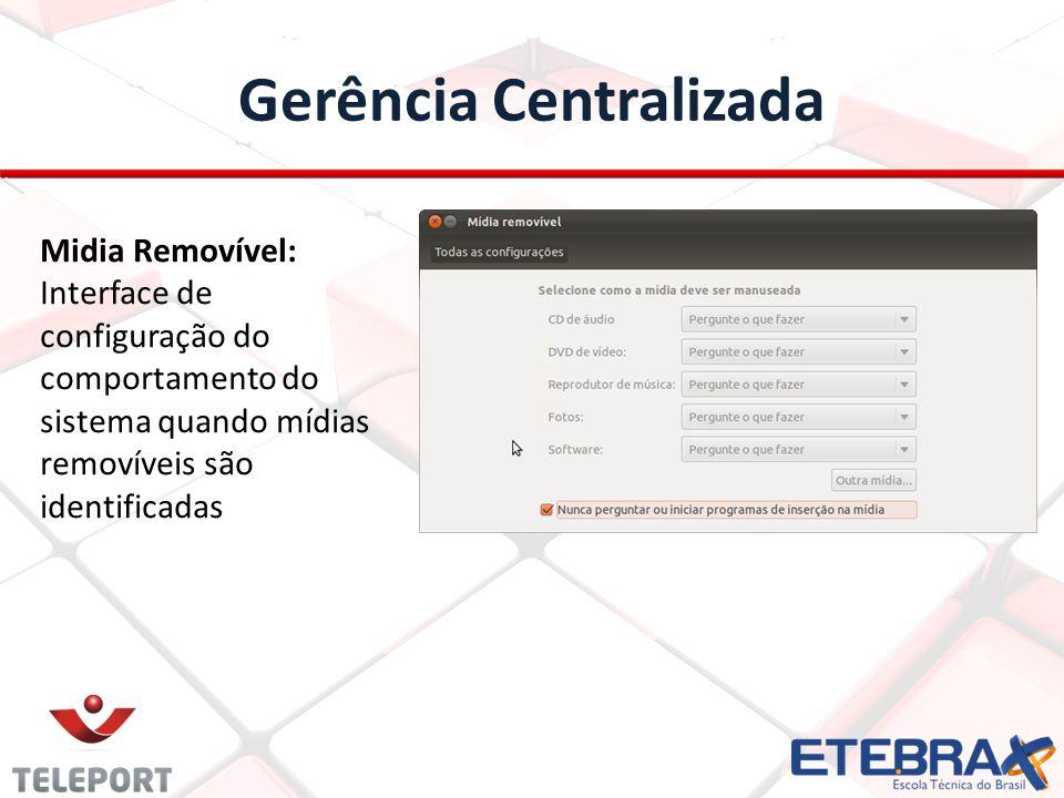 Gerência Centralizada Midia Removível: Interface de configuração do comportamento do sistema quando mídias removíveis são identificadas