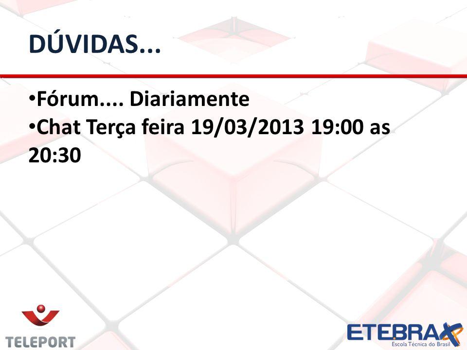 DÚVIDAS... Fórum.... Diariamente Chat Terça feira 19/03/2013 19:00 as 20:30