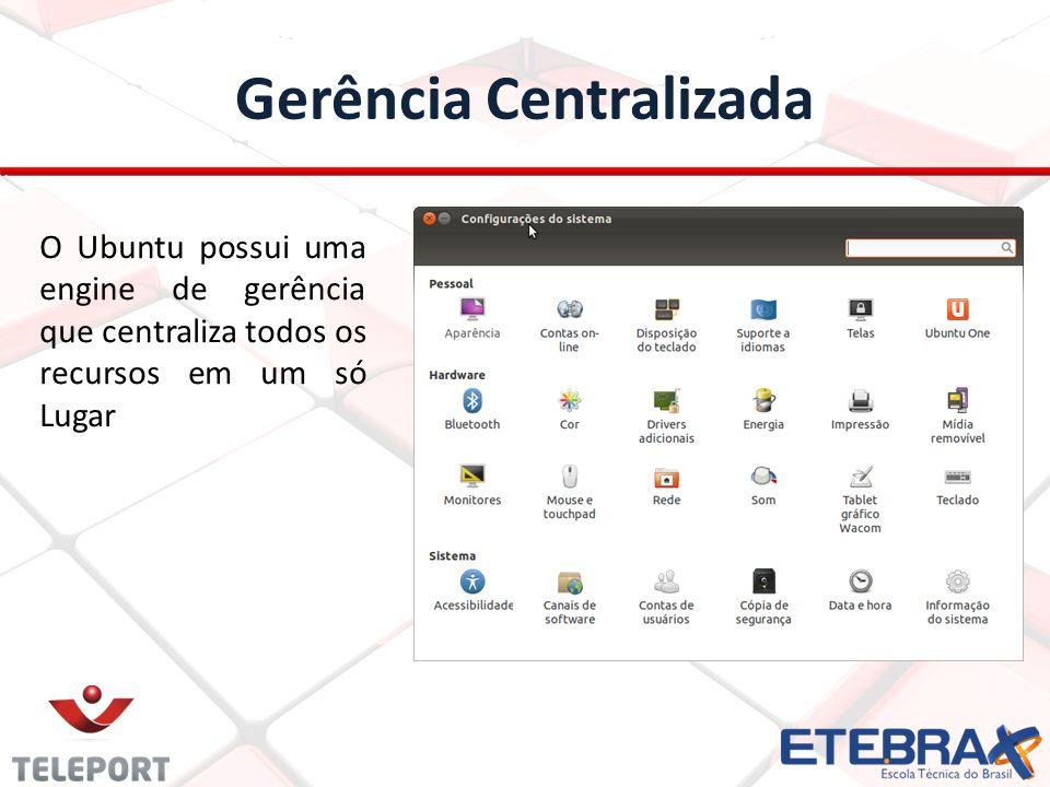 Gerência Centralizada O Ubuntu possui uma engine de gerência que centraliza todos os recursos em um só Lugar