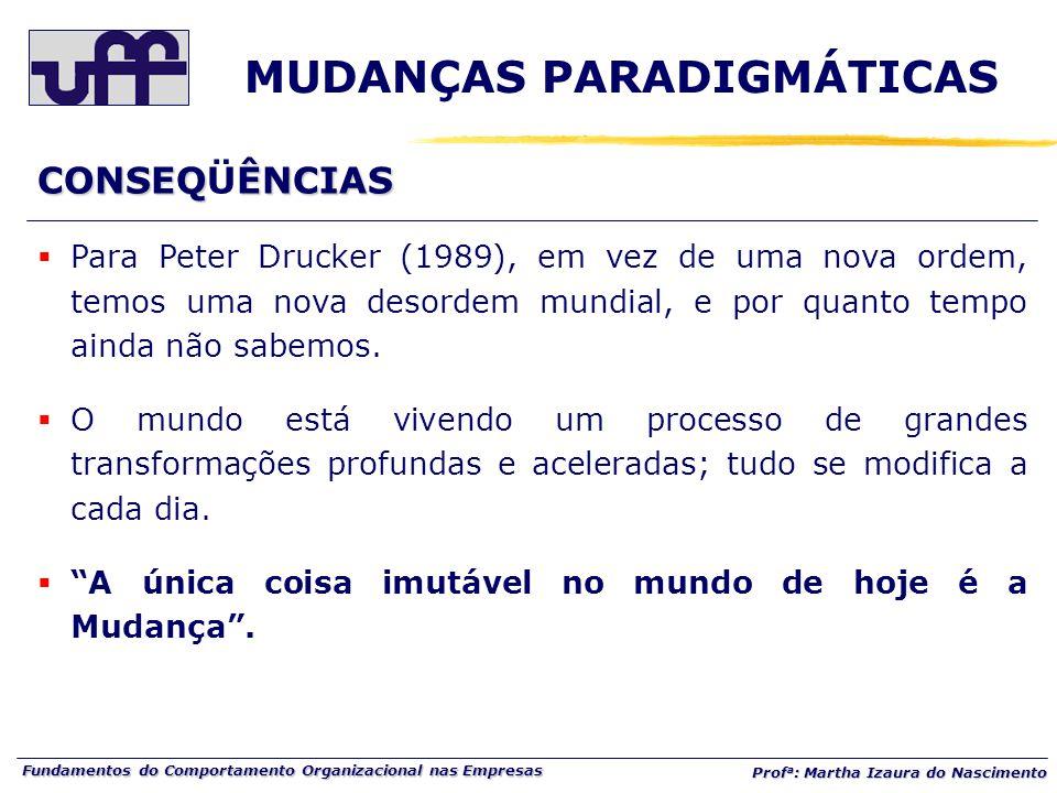 Fundamentos do Comportamento Organizacional nas Empresas Prof a : Martha Izaura do Nascimento  Para Peter Drucker (1989), em vez de uma nova ordem, temos uma nova desordem mundial, e por quanto tempo ainda não sabemos.
