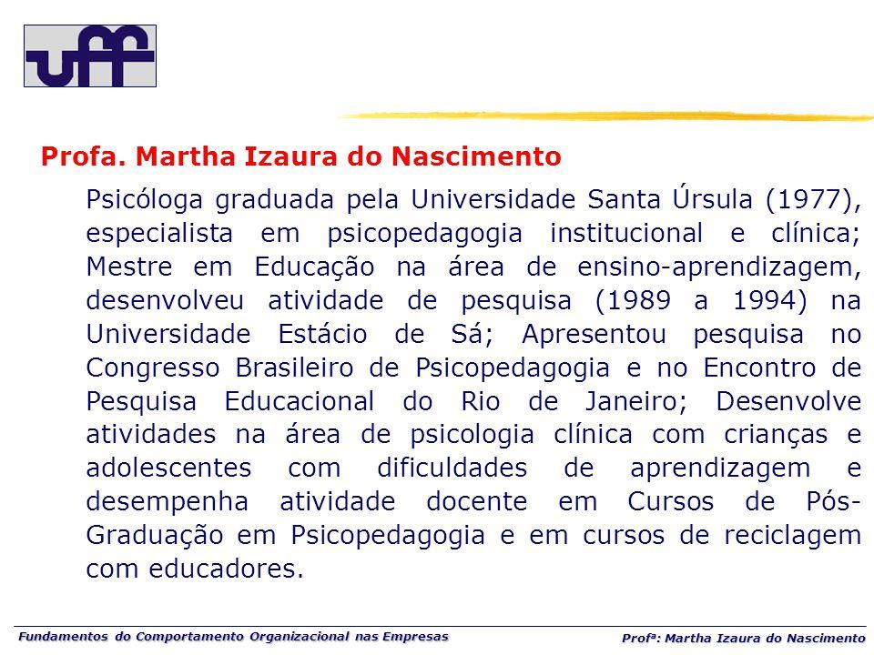 Fundamentos do Comportamento Organizacional nas Empresas Prof a : Martha Izaura do Nascimento Profa.