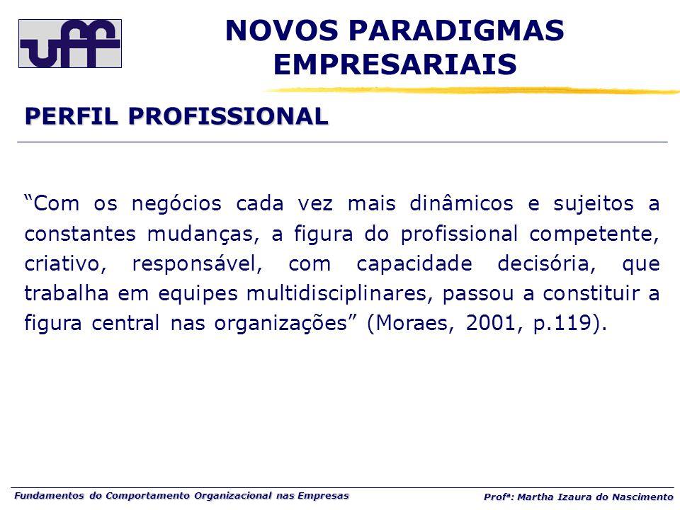 """Fundamentos do Comportamento Organizacional nas Empresas Prof a : Martha Izaura do Nascimento """"Com os negócios cada vez mais dinâmicos e sujeitos a co"""
