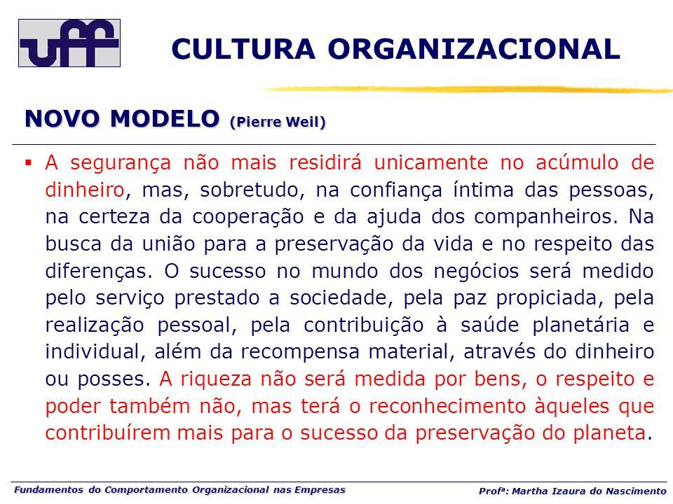 Fundamentos do Comportamento Organizacional nas Empresas Prof a : Martha Izaura do Nascimento  A segurança não mais residirá unicamente no acúmulo de dinheiro, mas, sobretudo, na confiança íntima das pessoas, na certeza da cooperação e da ajuda dos companheiros.