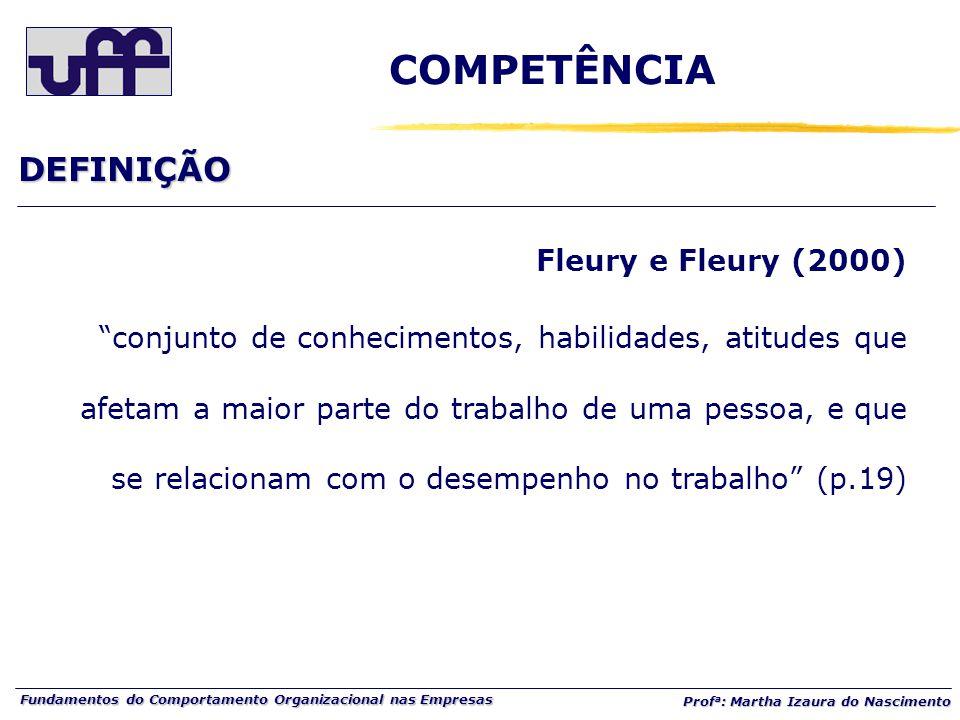 """Fundamentos do Comportamento Organizacional nas Empresas Prof a : Martha Izaura do Nascimento Fleury e Fleury (2000) """"conjunto de conhecimentos, habil"""