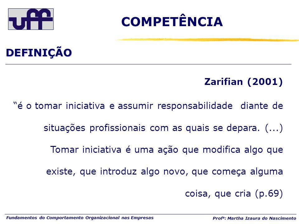 Fundamentos do Comportamento Organizacional nas Empresas Prof a : Martha Izaura do Nascimento Zarifian (2001) é o tomar iniciativa e assumir responsabilidade diante de situações profissionais com as quais se depara.