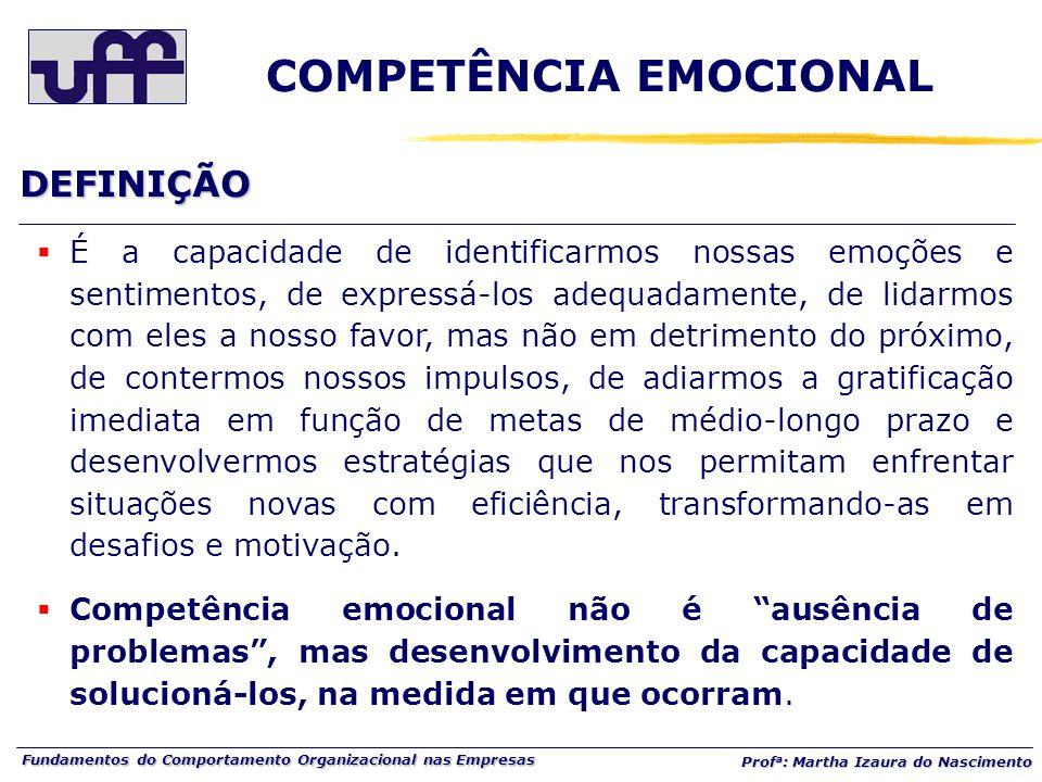 Fundamentos do Comportamento Organizacional nas Empresas Prof a : Martha Izaura do Nascimento DEFINIÇÃO COMPETÊNCIA EMOCIONAL  É a capacidade de iden