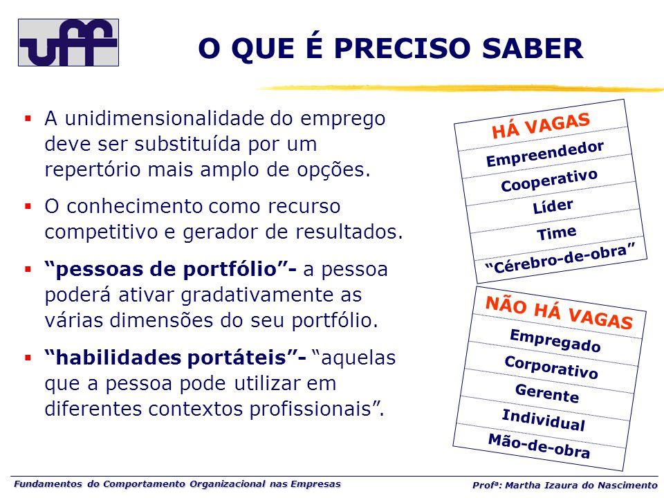 Fundamentos do Comportamento Organizacional nas Empresas Prof a : Martha Izaura do Nascimento  A unidimensionalidade do emprego deve ser substituída por um repertório mais amplo de opções.