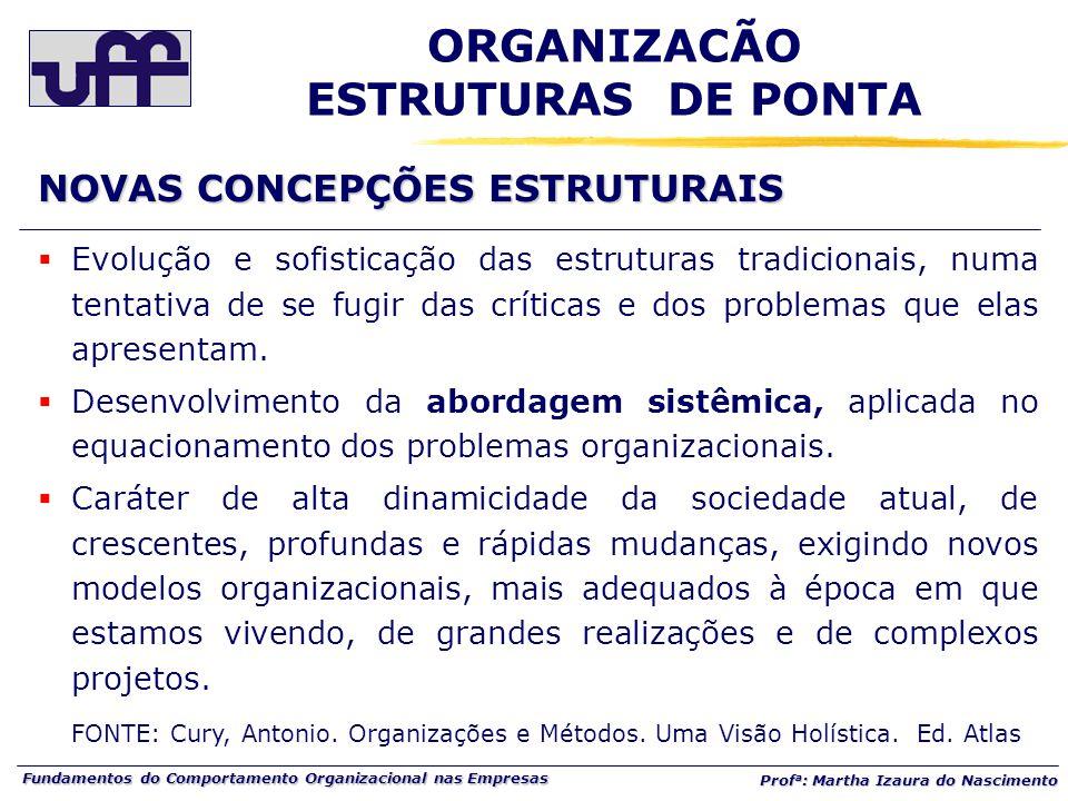 Fundamentos do Comportamento Organizacional nas Empresas Prof a : Martha Izaura do Nascimento  Evolução e sofisticação das estruturas tradicionais, numa tentativa de se fugir das críticas e dos problemas que elas apresentam.