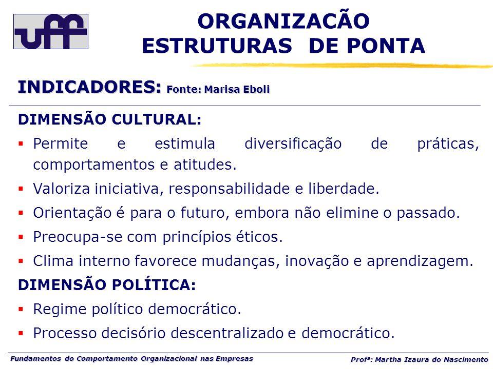 Fundamentos do Comportamento Organizacional nas Empresas Prof a : Martha Izaura do Nascimento DIMENSÃO CULTURAL:  Permite e estimula diversificação de práticas, comportamentos e atitudes.