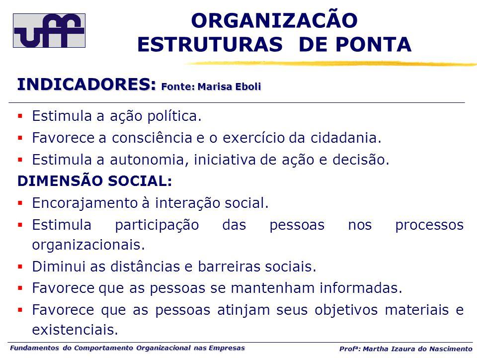Fundamentos do Comportamento Organizacional nas Empresas Prof a : Martha Izaura do Nascimento  Estimula a ação política.  Favorece a consciência e o