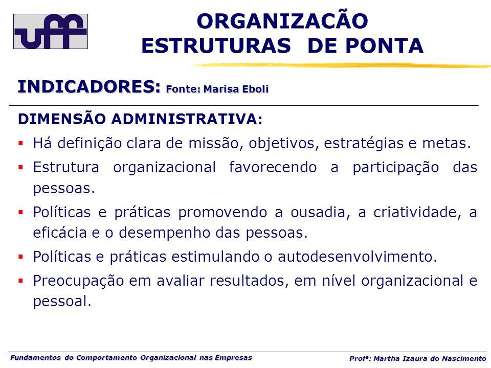 Fundamentos do Comportamento Organizacional nas Empresas Prof a : Martha Izaura do Nascimento DIMENSÃO ADMINISTRATIVA:  Há definição clara de missão, objetivos, estratégias e metas.