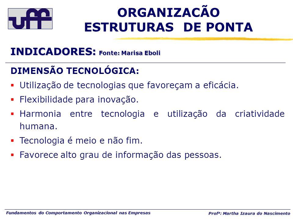 Fundamentos do Comportamento Organizacional nas Empresas Prof a : Martha Izaura do Nascimento DIMENSÃO TECNOLÓGICA:  Utilização de tecnologias que favoreçam a eficácia.