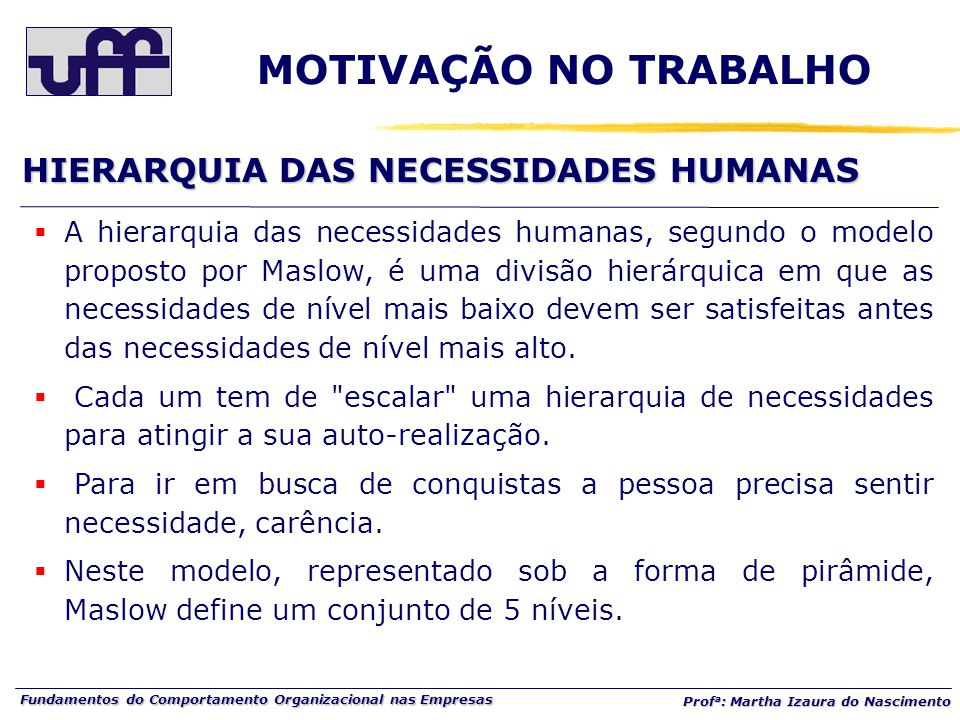 Fundamentos do Comportamento Organizacional nas Empresas Prof a : Martha Izaura do Nascimento HIERARQUIA DAS NECESSIDADES HUMANAS  A hierarquia das n