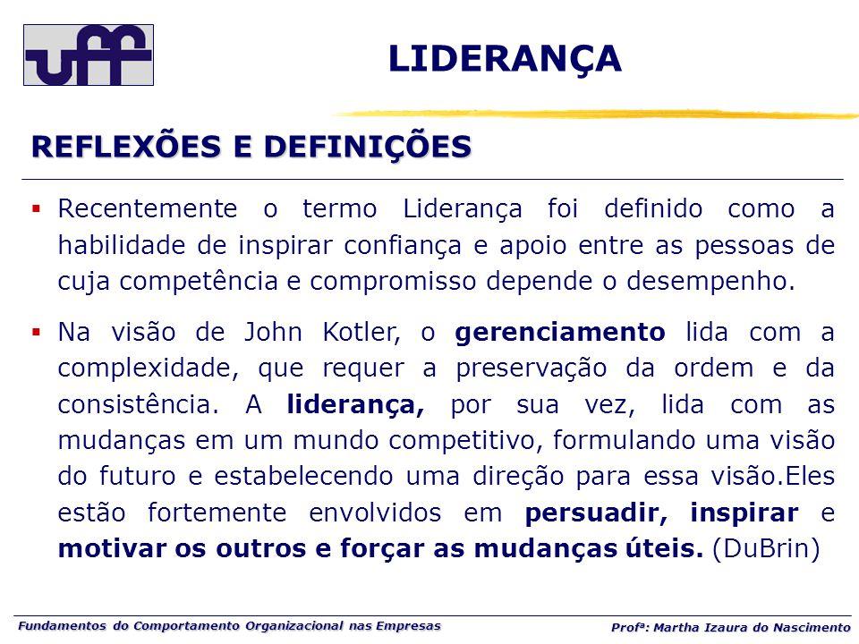Fundamentos do Comportamento Organizacional nas Empresas Prof a : Martha Izaura do Nascimento REFLEXÕES E DEFINIÇÕES  Recentemente o termo Liderança