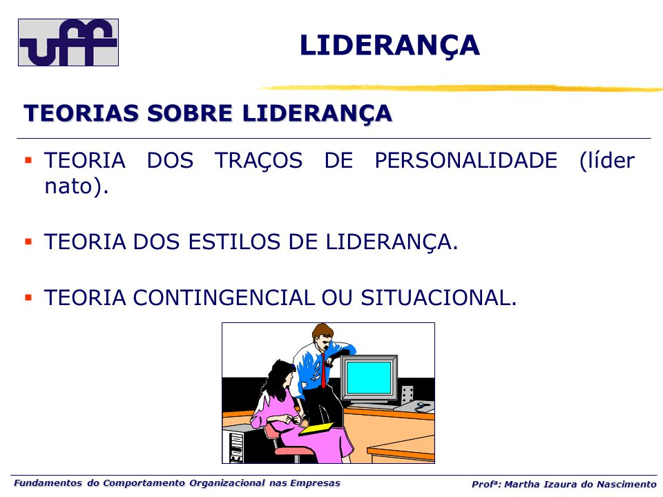 Fundamentos do Comportamento Organizacional nas Empresas Prof a : Martha Izaura do Nascimento  TEORIA DOS TRAÇOS DE PERSONALIDADE (líder nato).