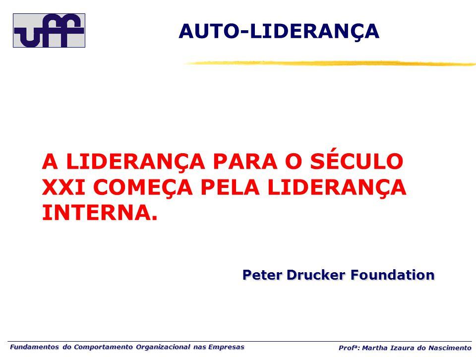 Fundamentos do Comportamento Organizacional nas Empresas Prof a : Martha Izaura do Nascimento Peter Drucker Foundation A LIDERANÇA PARA O SÉCULO XXI COMEÇA PELA LIDERANÇA INTERNA.
