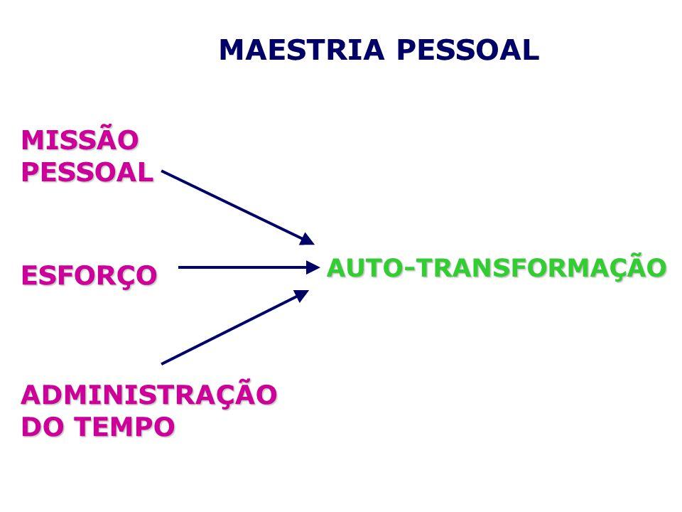 ADMINISTRAÇÃO DO TEMPO AUTO-TRANSFORMAÇÃO ESFORÇO MISSÃO PESSOAL MAESTRIA PESSOAL