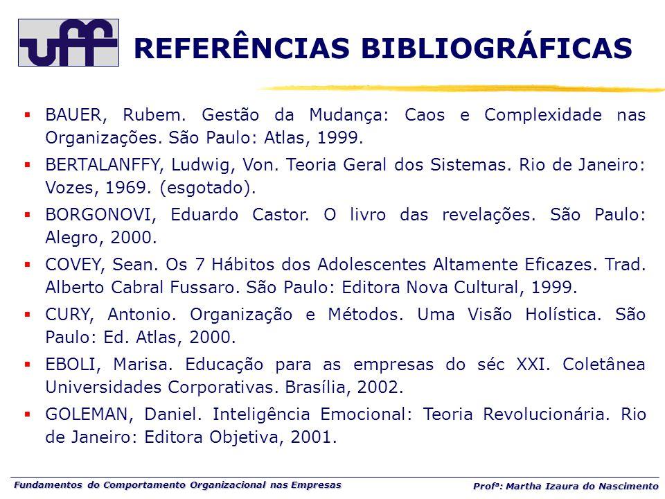 Fundamentos do Comportamento Organizacional nas Empresas Prof a : Martha Izaura do Nascimento  BAUER, Rubem. Gestão da Mudança: Caos e Complexidade n