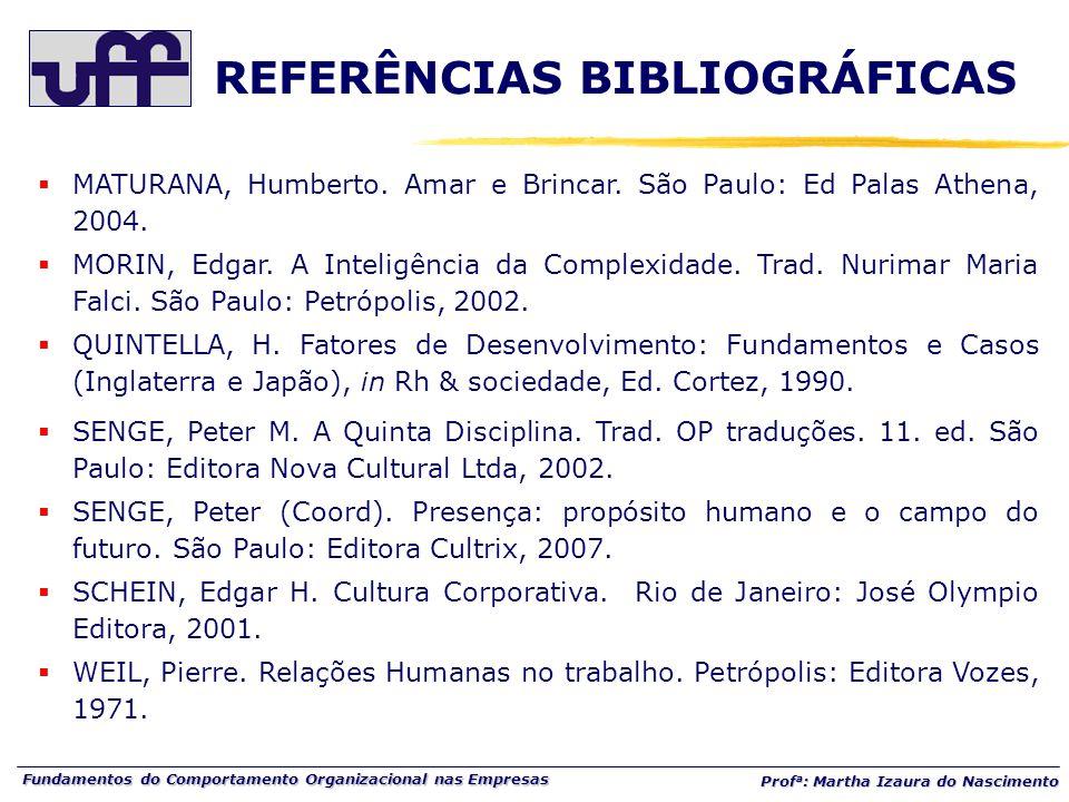 Fundamentos do Comportamento Organizacional nas Empresas Prof a : Martha Izaura do Nascimento  MATURANA, Humberto. Amar e Brincar. São Paulo: Ed Pala