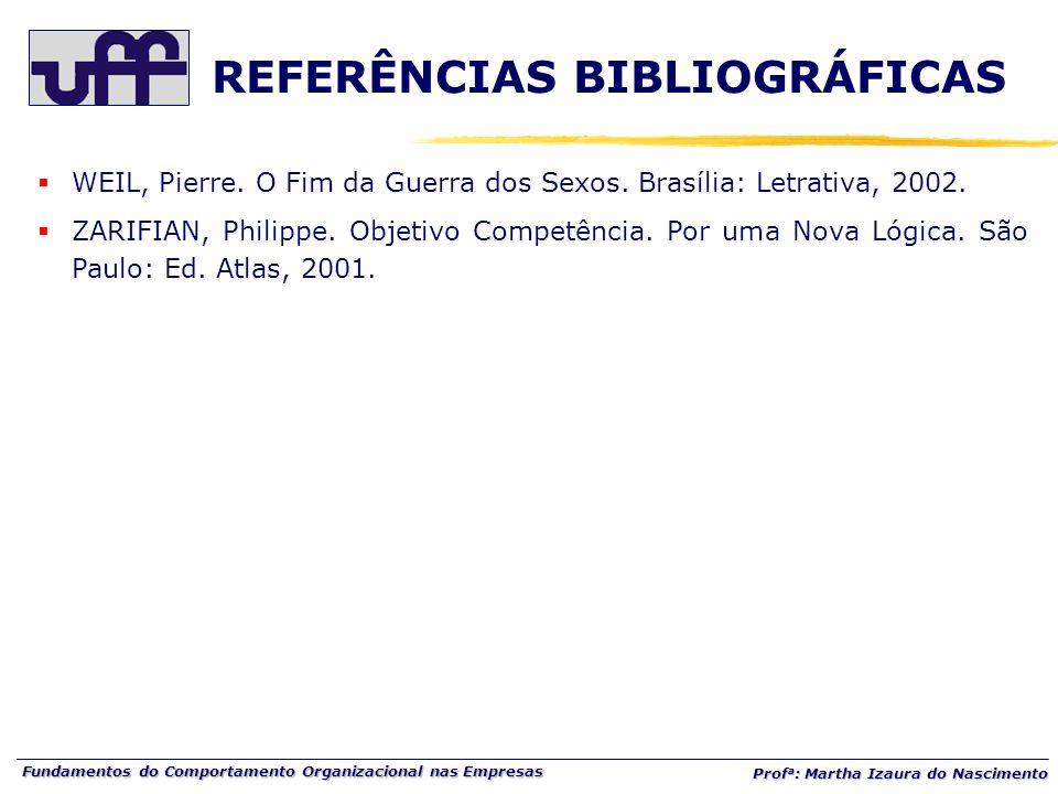 Fundamentos do Comportamento Organizacional nas Empresas Prof a : Martha Izaura do Nascimento  WEIL, Pierre.