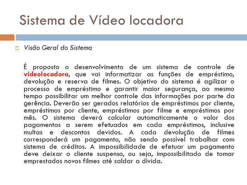 Sistema de Vídeo locadora  Visão Geral do Sistema É proposto o desenvolvimento de um sistema de controle de videolocadora, que vai informatizar as fu