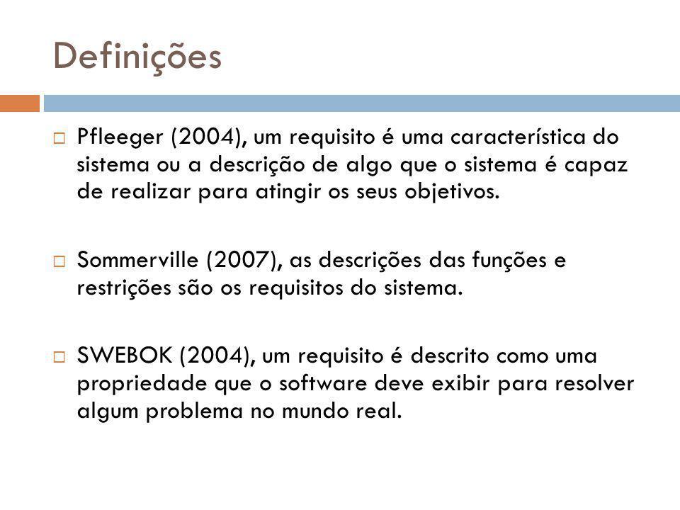 Definições  Pfleeger (2004), um requisito é uma característica do sistema ou a descrição de algo que o sistema é capaz de realizar para atingir os se