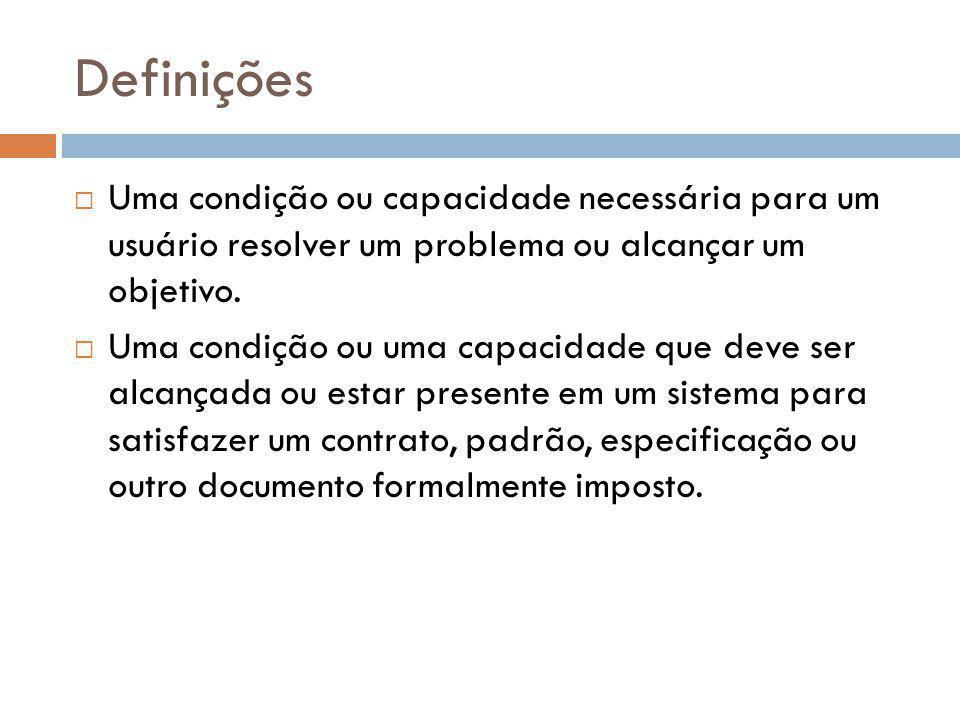 Definições  Uma condição ou capacidade necessária para um usuário resolver um problema ou alcançar um objetivo.  Uma condição ou uma capacidade que