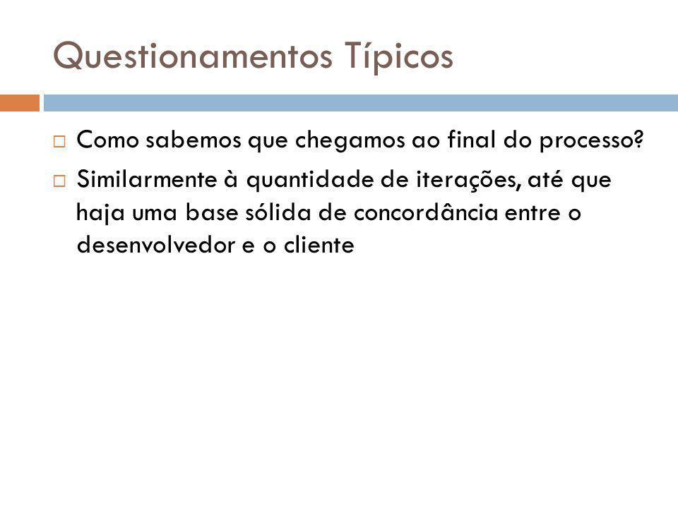 Questionamentos Típicos  Como sabemos que chegamos ao final do processo?  Similarmente à quantidade de iterações, até que haja uma base sólida de co