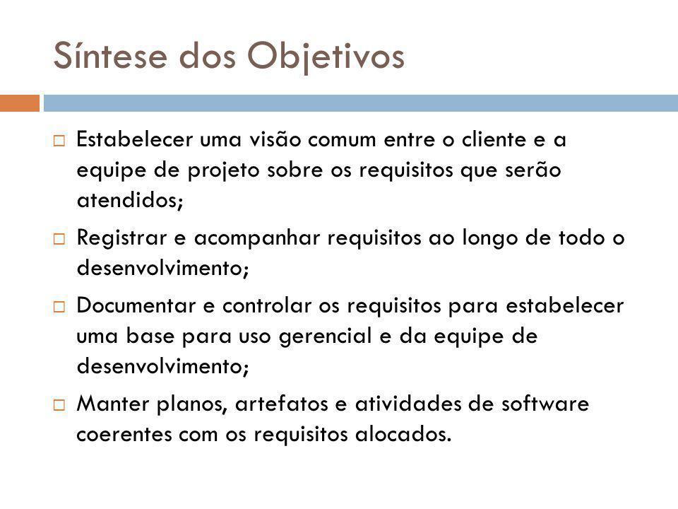 Síntese dos Objetivos  Estabelecer uma visão comum entre o cliente e a equipe de projeto sobre os requisitos que serão atendidos;  Registrar e acomp