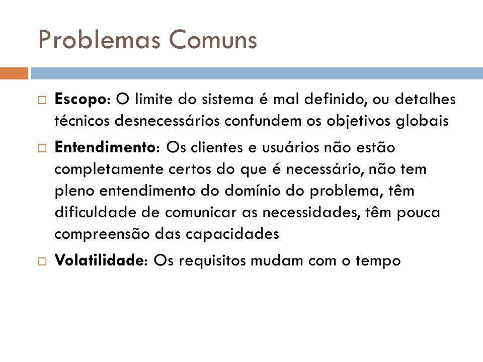 Problemas Comuns  Escopo: O limite do sistema é mal definido, ou detalhes técnicos desnecessários confundem os objetivos globais  Entendimento: Os c