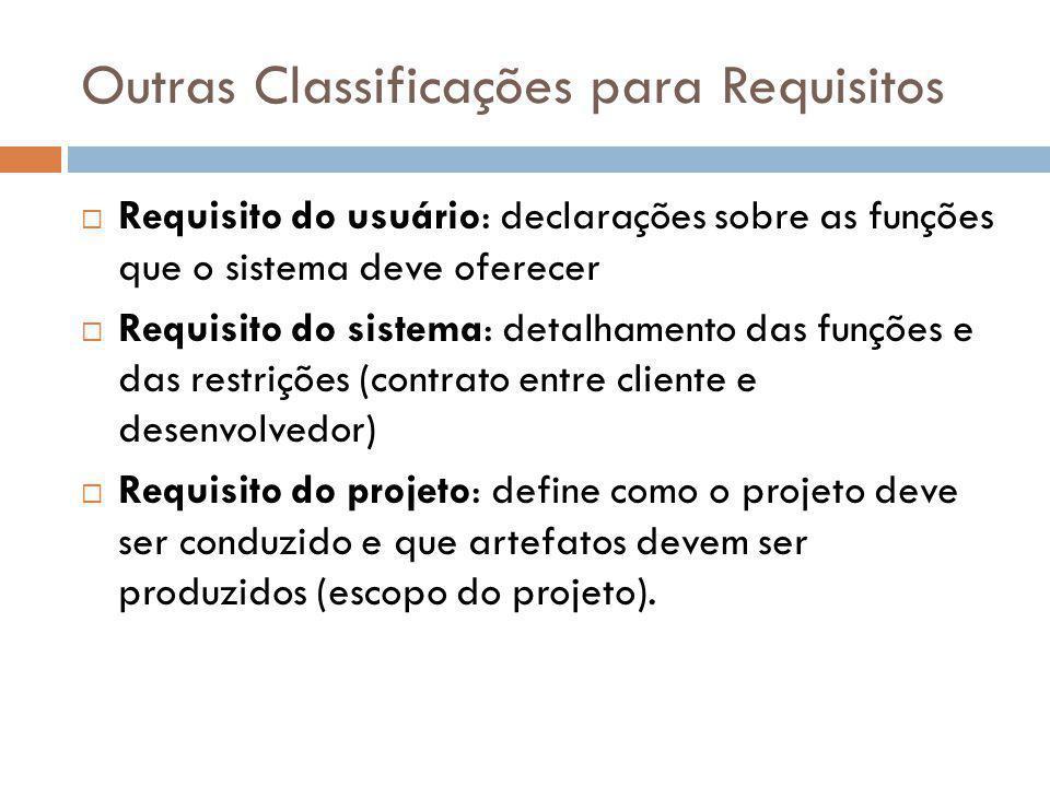 Outras Classificações para Requisitos  Requisito do usuário: declarações sobre as funções que o sistema deve oferecer  Requisito do sistema: detalha