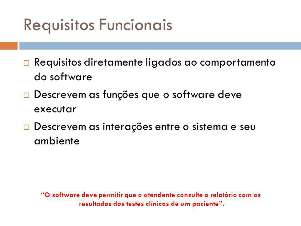 Requisitos Funcionais  Requisitos diretamente ligados ao comportamento do software  Descrevem as funções que o software deve executar  Descrevem as
