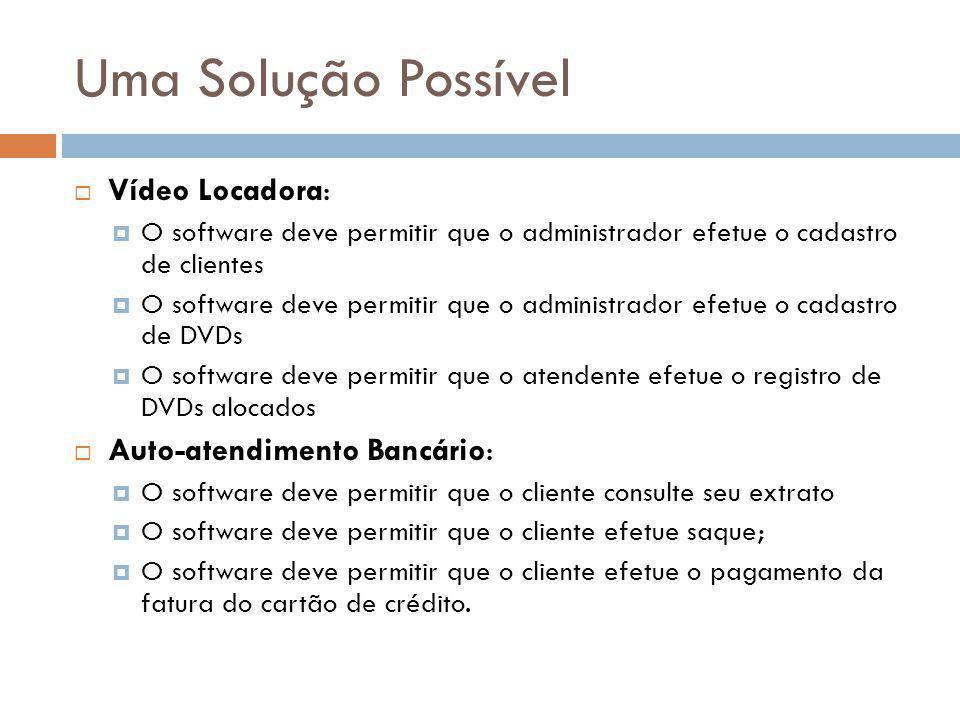 Uma Solução Possível  Vídeo Locadora:  O software deve permitir que o administrador efetue o cadastro de clientes  O software deve permitir que o a