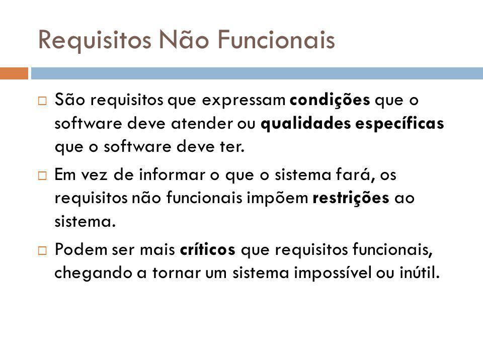 Requisitos Não Funcionais  São requisitos que expressam condições que o software deve atender ou qualidades específicas que o software deve ter.  Em