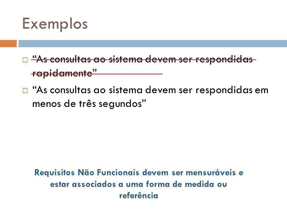 """Exemplos  """"As consultas ao sistema devem ser respondidas rapidamente""""  """"As consultas ao sistema devem ser respondidas em menos de três segundos"""" Req"""