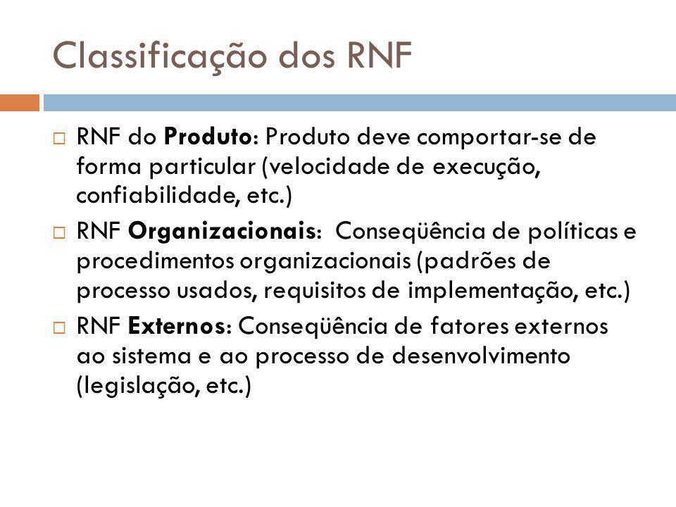 Classificação dos RNF  RNF do Produto: Produto deve comportar-se de forma particular (velocidade de execução, confiabilidade, etc.)  RNF Organizacio