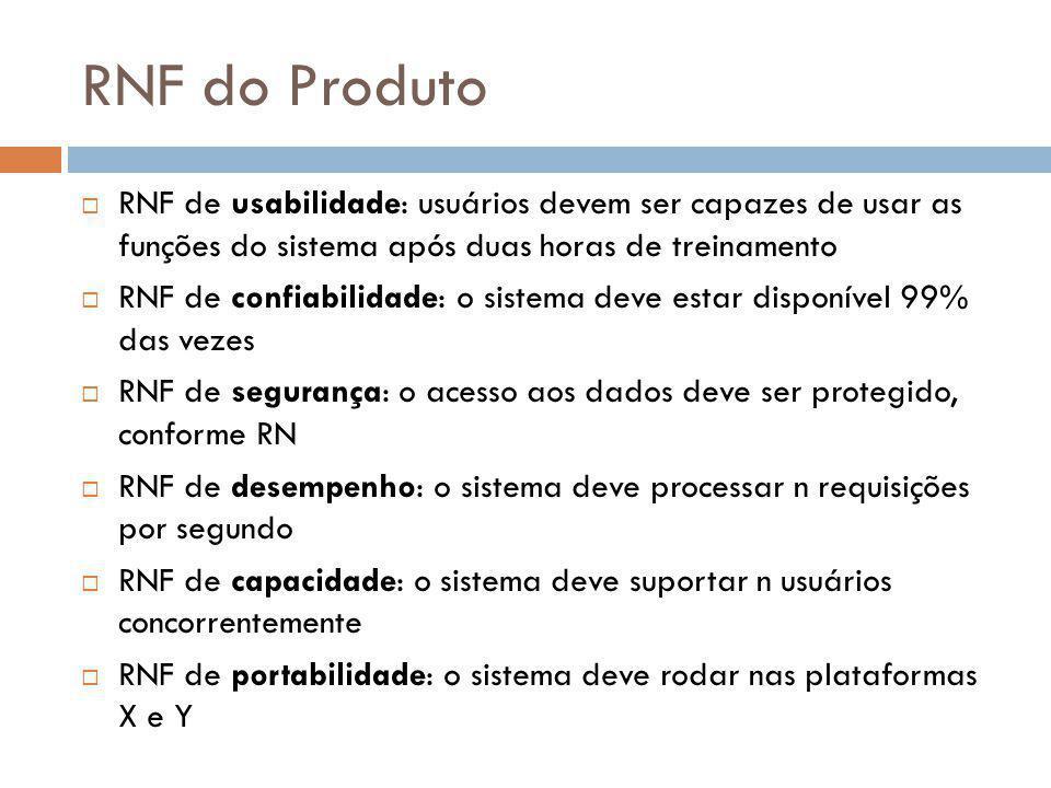 RNF do Produto  RNF de usabilidade: usuários devem ser capazes de usar as funções do sistema após duas horas de treinamento  RNF de confiabilidade: