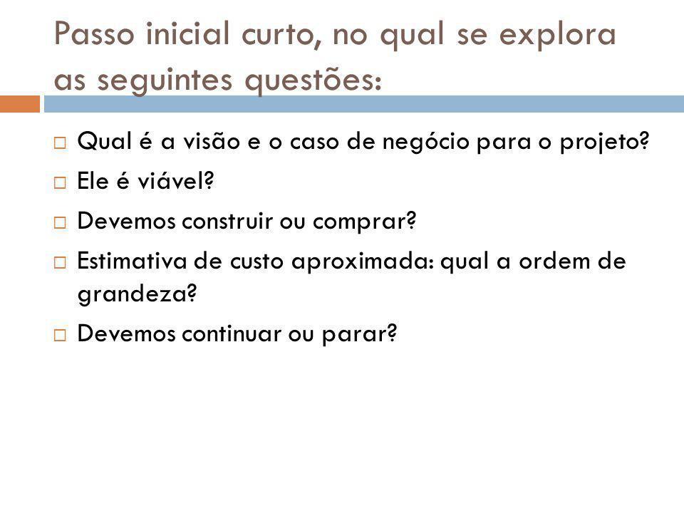 Passo inicial curto, no qual se explora as seguintes questões:  Qual é a visão e o caso de negócio para o projeto?  Ele é viável?  Devemos construi