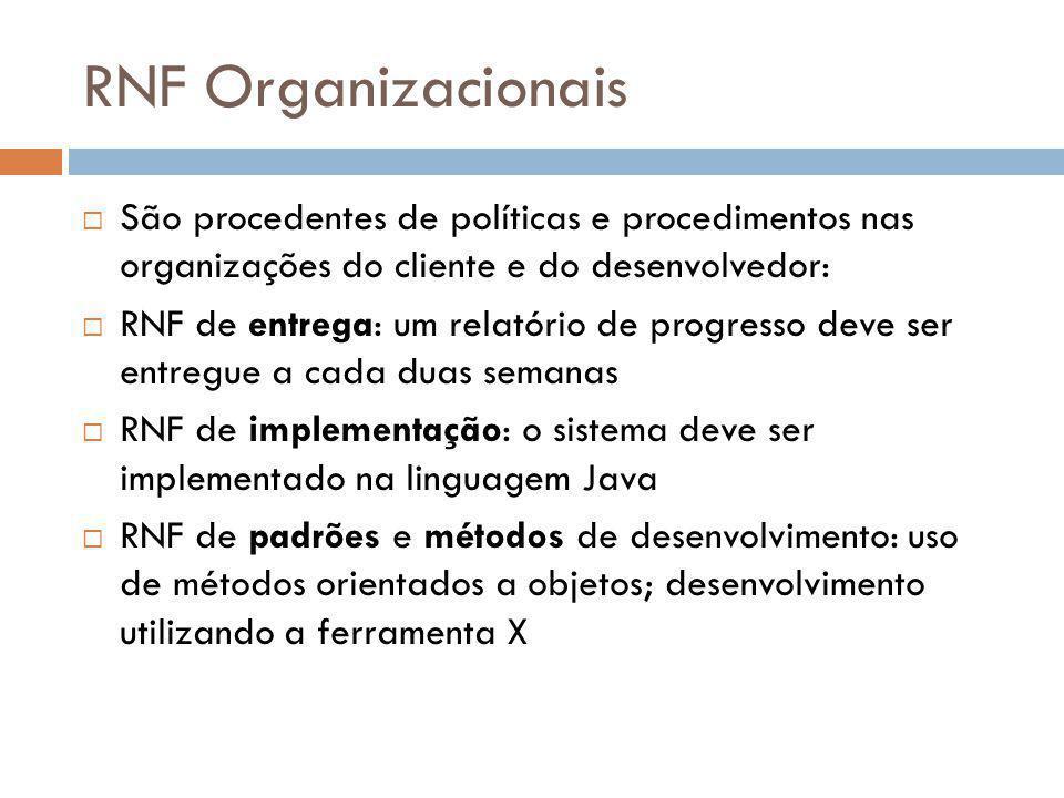 RNF Organizacionais  São procedentes de políticas e procedimentos nas organizações do cliente e do desenvolvedor:  RNF de entrega: um relatório de p