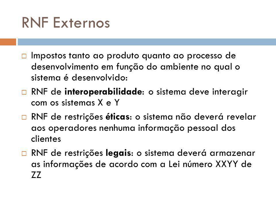 RNF Externos  Impostos tanto ao produto quanto ao processo de desenvolvimento em função do ambiente no qual o sistema é desenvolvido:  RNF de intero