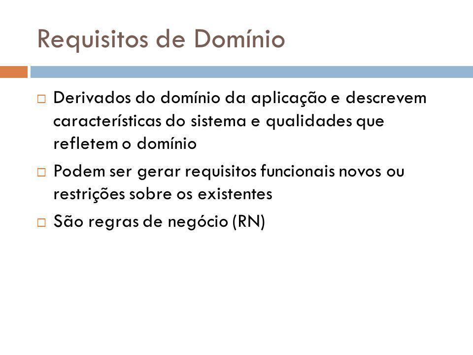 Requisitos de Domínio  Derivados do domínio da aplicação e descrevem características do sistema e qualidades que refletem o domínio  Podem ser gerar