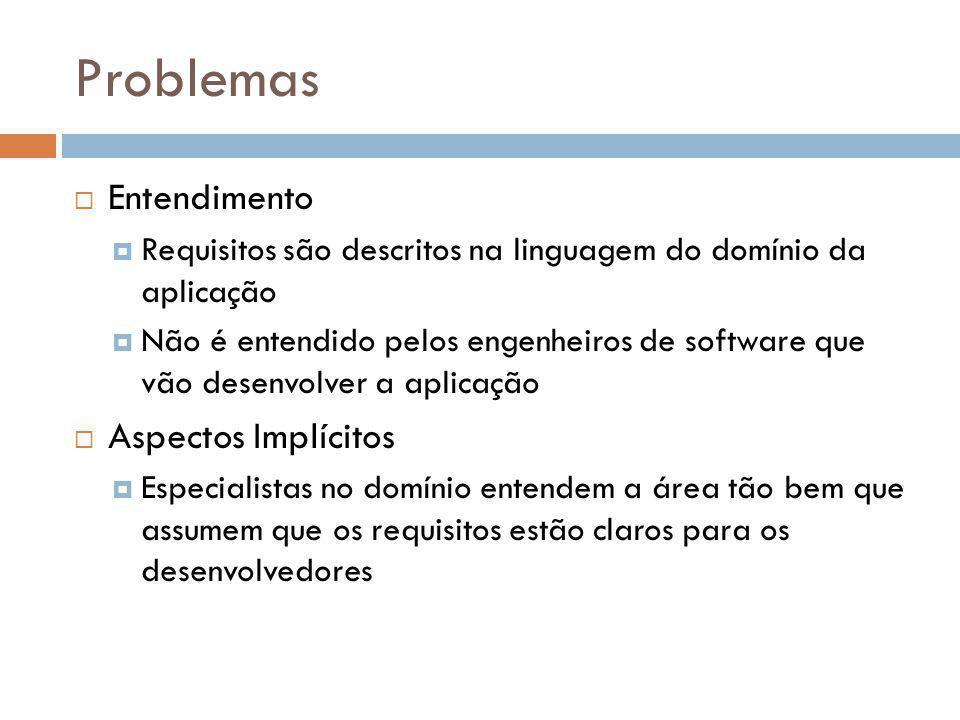 Problemas  Entendimento  Requisitos são descritos na linguagem do domínio da aplicação  Não é entendido pelos engenheiros de software que vão desen