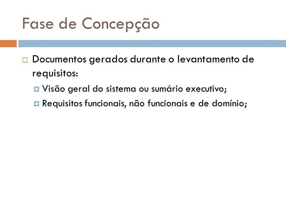 Fase de Concepção  Documentos gerados durante o levantamento de requisitos:  Visão geral do sistema ou sumário executivo;  Requisitos funcionais, n